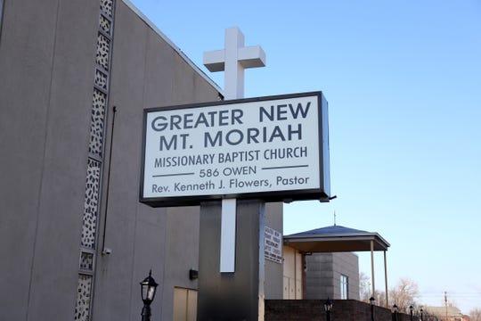 Exterior fo Greater New Moriah Baptist Church Sunday, March 22, 2020.