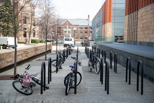 Bike stands by the Ross School of Business on University of Michigan main campus in Ann Arbor, Tuesday, March 17, 2020.
