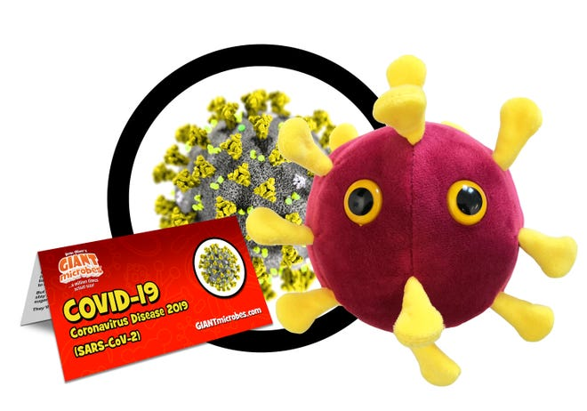 GIANTmicrobes, a Connecticut-based company, released its COVID-19 plush toy this month.