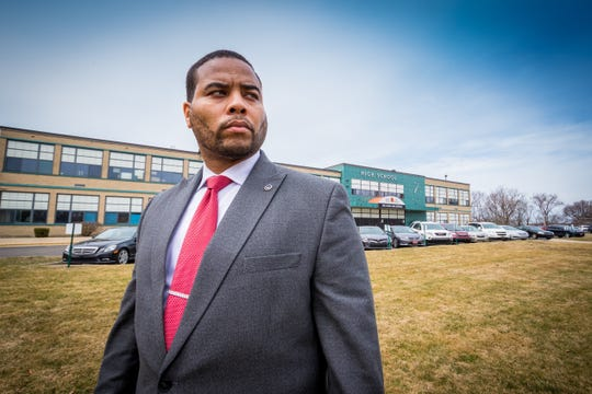 Benton Harbor schools new superintendent Dr. Andrae Townsel settles into his new role on March 12 in Benton Harbor, MI.