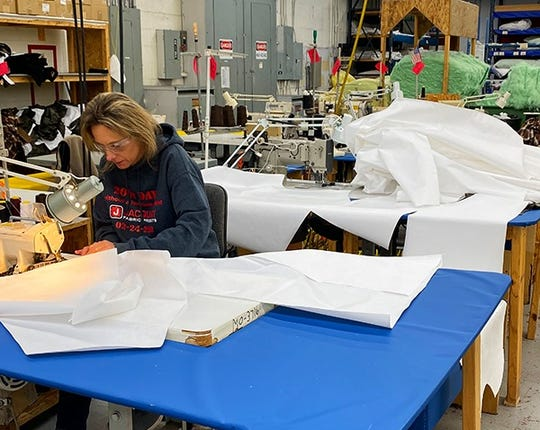 Ironwood-based Jacquart Fabric Products has pivoted to sewing facial masks for medical workers battling the coronavirus pandemic.