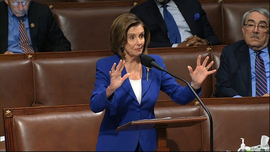 House Speaker Nancy Pelosi of Calif., speaks on the floor of the House of Representatives at the U.S. Capitol in Washington, Friday.