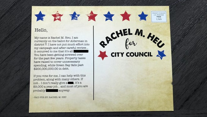 Rachel Heu mailed this flyer to residents of Green Bay's City Council District 7.