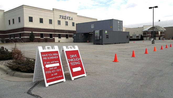 This drive through COVID-19 testing site at Prevea Health's Ashwaubenon Clinic went into service on March 21. Prevea also has set up  similar sites in Howard, De Pere and Oconto Falls, but they have not yet opened.