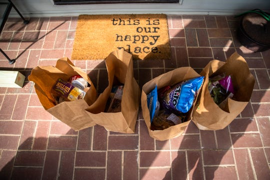 Groceries that Hallie Weems, a third-year medical student at University of South Carolina School of Medicine Greenville, delivered to George Hammond, 77 and Jan Amacher, 71, Friday, March 27, 2020.