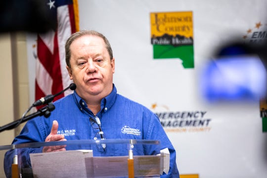 Dave Wilson, Johnson County Emergency Management Director, speaks during a press conference on the novel coronavirus, COVID-19, Friday, March 27, 2020, at the Johnson County Emergency Operations Center in Iowa City, Iowa.