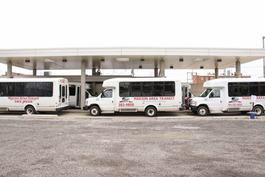 The Marion Area Transit bus station had more buses than passengers during its 3 p.m. stop on Tuesday, March 24.