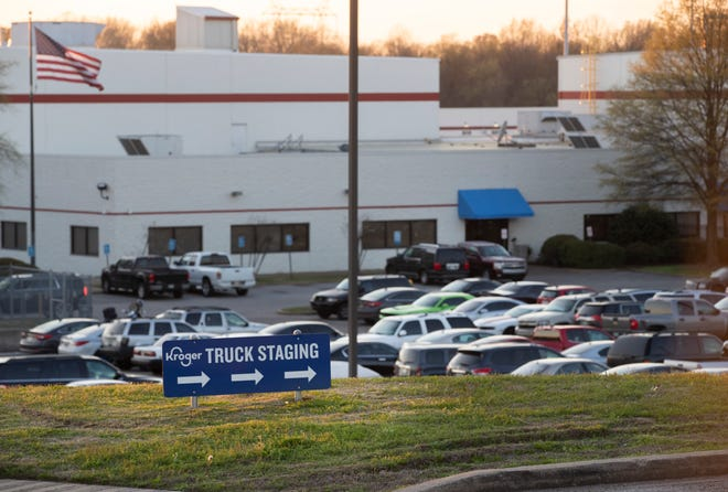 Kroger supply warehouse Thursday where a worker has tested positive for COVID-19.