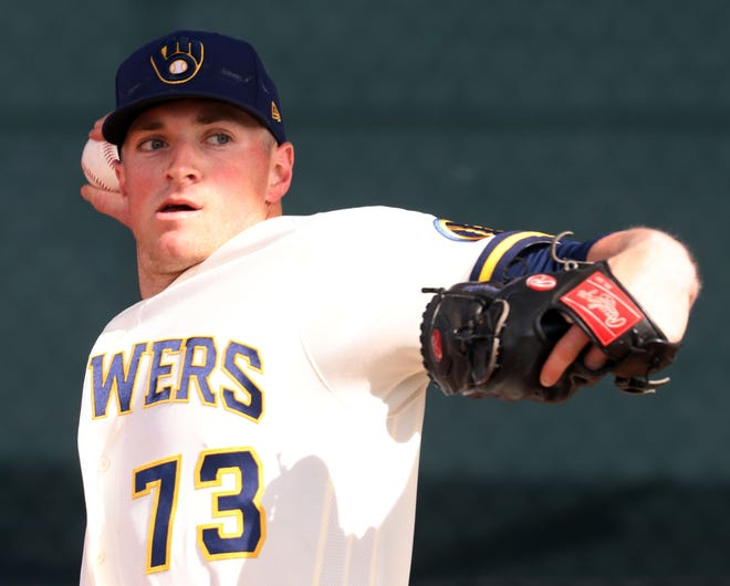 Drew Rasmussen is one name that stands out on the Brewers' initial 45-member player pool. Although he hasn't pitched above Class AA, he has a fastball that reaches 100 mph.