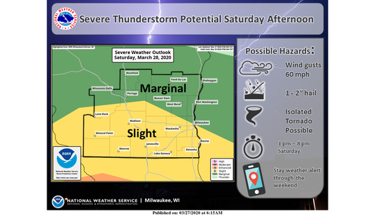 Severe storms are possible in southern Wisconsin on Saturday.