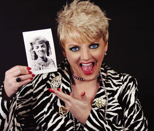 """Allison Arngrim with a photo of her """"Little House on the Prarie"""" character."""