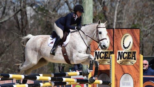 Auburn's Emma Kurtz competes in Equitation over Fences against Texas A&M on Saturday, March 7, 2020 in Auburn, Ala.