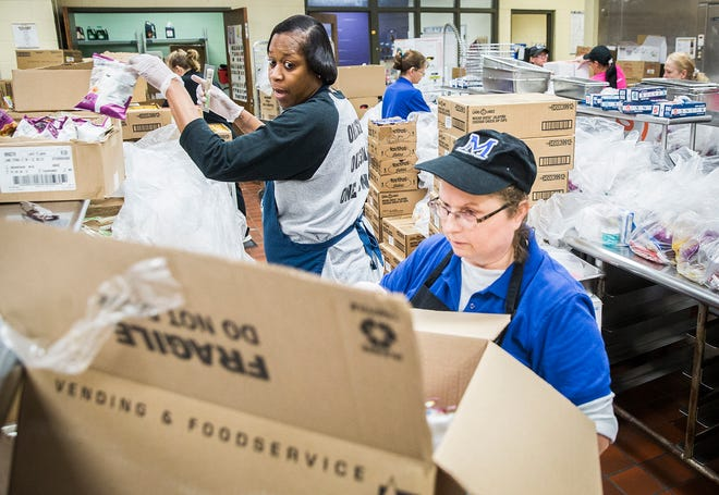 During the first months of the COVID-19 pandemic, Chartwells employees and volunteers work to prepare around 40,000 meals in 48 hours for families with children who attend Muncie Community Schools at Central.