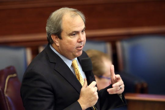 Sen. Joe Gruters, R-Sarasota, explains a water bill during session Thursday, March 12, 2020, in Tallahassee.