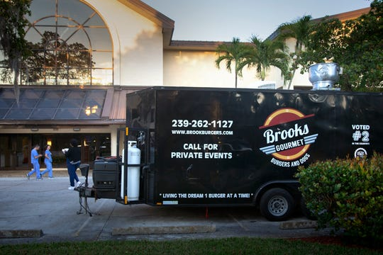 Brooks Gourmet Burgers & Dogs provided free lunch and dinner to staff members at NCH Baker on Thursday, March26, 2020,  in Naples.