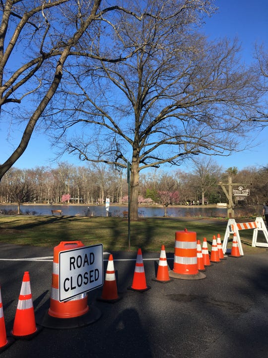 The road closed at Saddle River County Park in Ridgewood near the wild duck pond area on Friday, March 27, 2020.