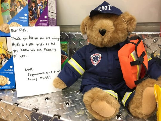 Pequannock Girl Scout Troop 96489 brought the local first aid squad some of its famous cookies amid the coronavirus outbreak of 2020.