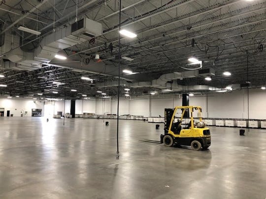 Inside the Meadowlands Convention Center before the set up for a field hospital, March 27, 2020.