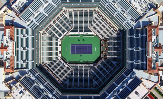 Stadium 1 at the Indian Wells Tennis Garden sits empty after the BNP Paribas Open was canceled because of the coronavirus, March 25, 2020.