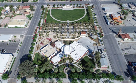 The streets of downtown Coachella are quiet as the coronavirus shuts down activity in this aerial photo of Coachella City Hall, March 27, 2020.
