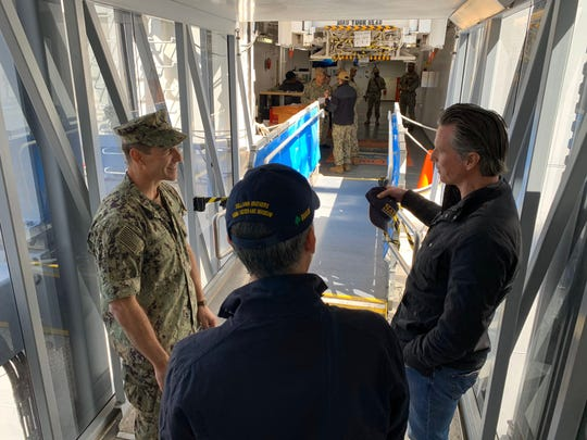 California Governor Gavin Newsom toured the USNS Mercy hospital ship March 27, 2020, which was deployed to the Port of Los Angeles to aid in the response to coronavirus pandemic.