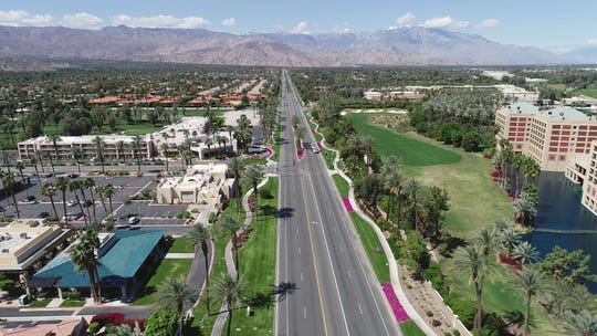 A small amount of traffic uses Highway 111 during the peak of tourism season in the Coachella Valley as the coronavirus forces people to stay home, March 25, 2020.