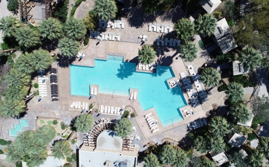 Agua Caliente Casino's pool in Rancho Mirage is photographed on March 27, 2020. The coronavirus pandemic has closed area pools and limited traffic.