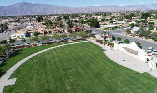 Veterans Park in Coachella sits largely empty, March 27, 2020.