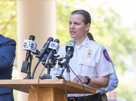 Pensacola Fire Chief Ginny Cranor gives an update on the coronavirus pandemic during a press conference at city hall in Pensacola on Friday, March 27, 2020.