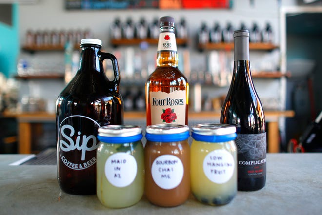 Sip Coffee and Beer in Phoenix has its drive-thru open on March 26, 2020. Offerings including growlers of beer, bottles of liquor, wine and cocktails to go.
