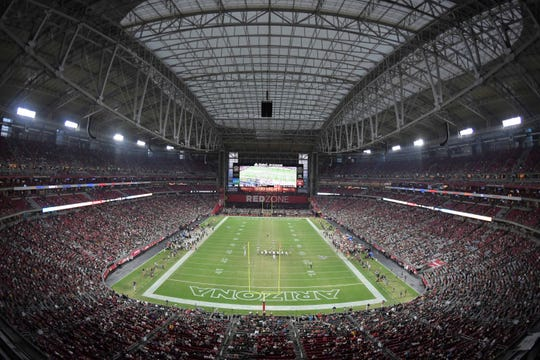 General overall view of State Farm Stadium during an NFL football game between the Oakland Raiders and the Arizona Cardinals. The stadium will host a blood drive on Tuesday.