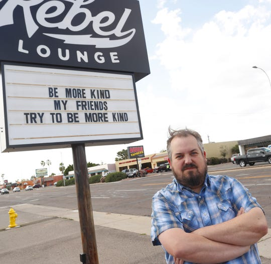 Stephen Chilton outside Rebel Lounge in Phoenix on March 27, 2020. Chilton has been busy trying to reschedule summer shows into an already packed fall schedule.