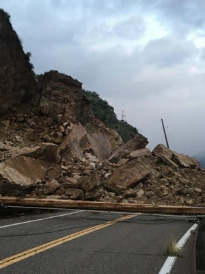 A rockfall on State Route 88 at milepost 242 blocks access between Roosevelt and Apache lakes on March 27, 2020.