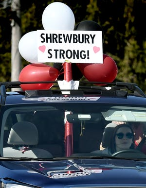 Southern York County School District elementary school teachers decorate their cars as they formed a vehicle caravan and drove through the area to wave to students. School's have been closed due to the Covid-19 pandemic. Bill Kalina photo