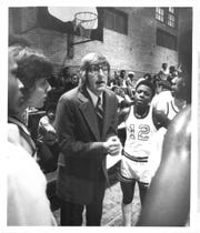 Dick O'Toole during a time out with one of the Edison basketball teams in the late 1970s or early 80s.
