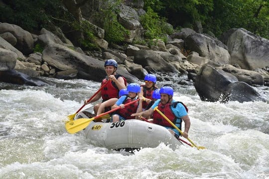 Nathaniel Long and other Scouts earning their whitewater merit badge at Ohiopyle State Park in Pennsylvania in July 2018.