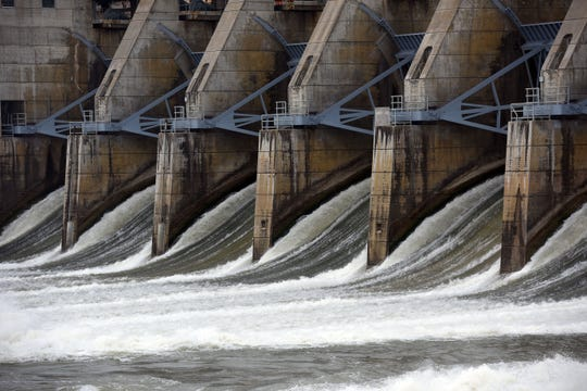 Water rushes from the Gavins Point Dam on Friday, March 27, in Yankton.