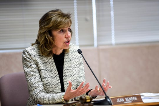 Commission Chair Jean Bender discusses a resolution limiting the number of patrons in businesses to prevent the spread of the coronavirus on Friday, March 27, 2020 in Sioux Falls, S.D.