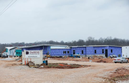 Crews continue to work on construction of the new Adah Fulbright Early Childhood Center on March 27.