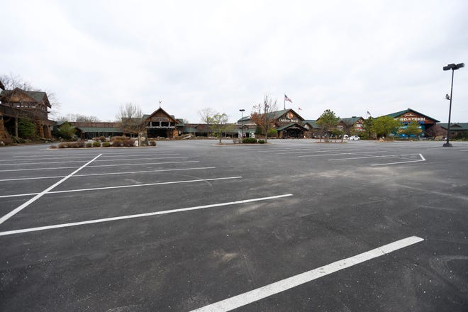 The Bass Pro Shops parking lot was completely empty on Friday, March 27, 2020 afternoon due being closed from the coronavirus shutdown.