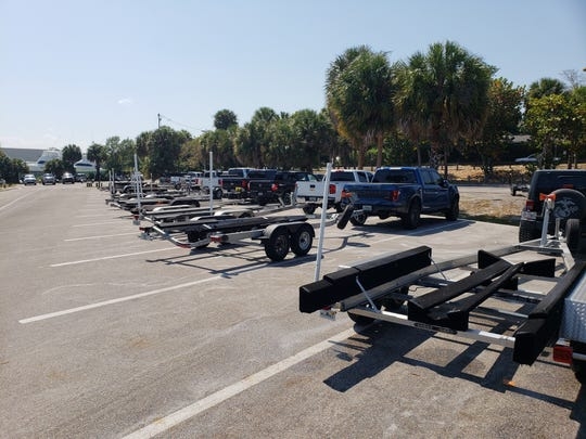 Scores of parked boat trailers could be seen in Sandsprit Park in Stuart March 27, 2020.