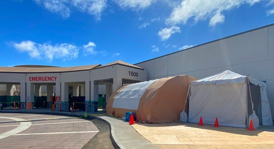 COVID-19 triage tents have been erected outside of St. John's Regional Medical Center in Oxnard.