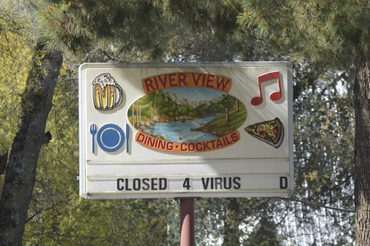 River View Lounge, a bar in Three Rivers, is closed during the COVID-19 pandemic.
