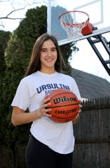 Sonia Citron, a junior at The Ursuline School, is the 2020 Westchester/Putnam girls basketball player of the year. Here she is pictured at her home in Scarsdale, March 27, 2020.