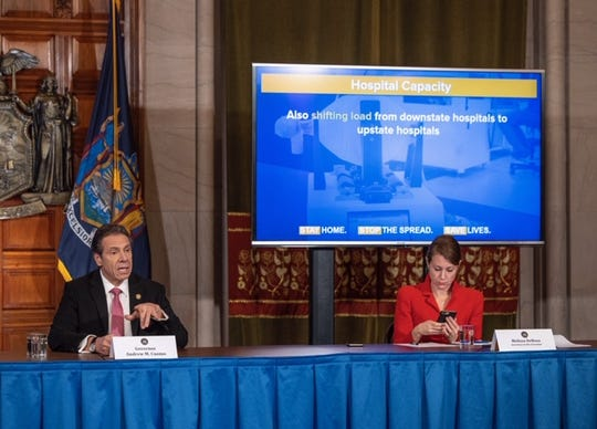 Gov. Andrew Cuomo and Melissa DeRosa during the coronavirus briefing on March 26, 2020.