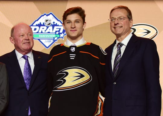 Jun 21, 2019; Vancouver, BC, Canada; Trevor Zegras after being selected as the number nine overall pick to the Anaheim Ducks in the first round of the 2019 NHL Draft at Rogers Arena. Mandatory Credit: Anne-Marie Sorvin-USA TODAY Sports