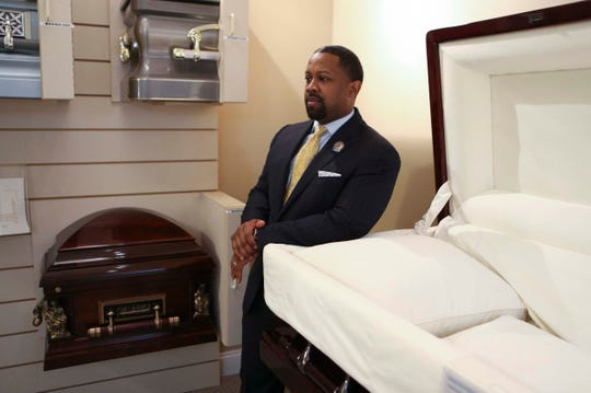 Justen Wright of the House of Wright Mortuary at his Wilmington funeral home Thursday.