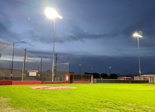 Holliday Athletic Director Frank Johnson turned on the lights at the Holliday High School football and baseball fields Thursday, March 26, 2020. The lights were turned on as a symbol of hope and an assurance that students and others are on their hearts and minds. The lights were left on for one hour. They plan to turn on the lights every weekday night.