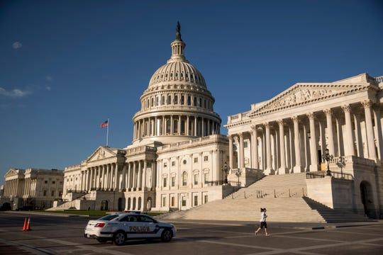 The U.S. Capitol as House lawmakers prepare to debate emergency coronavirus response legislation on Capitol Hill.