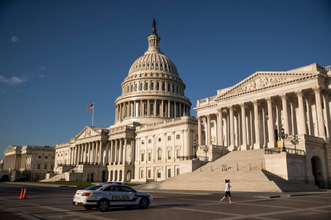The U.S. Capitol as House lawmakers prepare to debate emergency coronavirus response legislation on Capitol Hill.